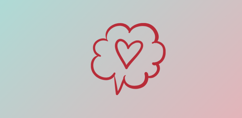 snakkeboble med hjerte